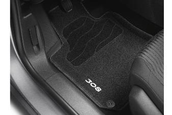 Peugeot 308 -  Formstøbt bundmåttesæt for og bag i grå filt - Ti